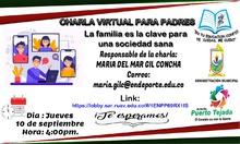 Charla virtual para padres. La familia es la clave para una sociedad sana
